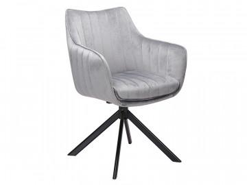 Set 2 scaune rotative din catifea Azalia gri