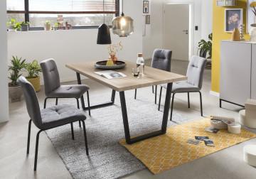 Set 2 scaune tapitate cu cadru din otel gri deschis/negru
