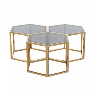 Set 3 masute de cafea hexagonale din sticla Penta 40x60x52 cm gri/auriu