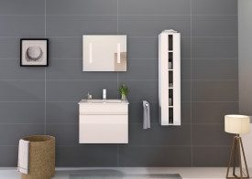Set 3 piese mobilier pentru baie, alb, 60 cm