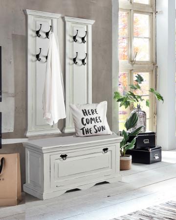 Set 3 piese mobilier pentru hol din lemn de mango/MDF Toledo alb