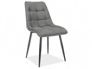 Set 4 scaune din catifea Chic gri mat