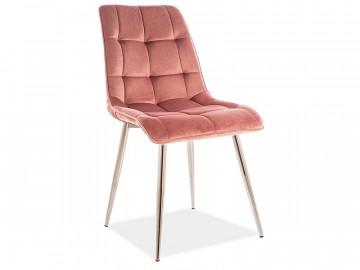 Set 4 scaune din catifea Chic roz/crom