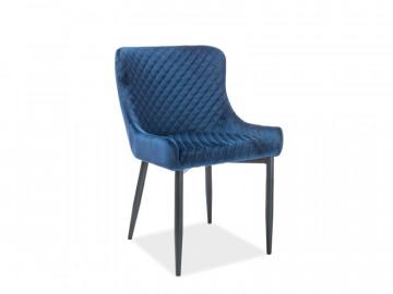 Set 4 scaune din catifea Colin albastru / negru