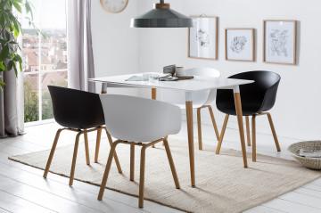 Set masa dreptunghiulara din MDF cu 4 scaune 120x80 cm alb/negru