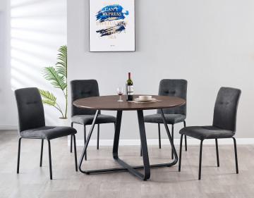 Set masa rotunda din MDF cu 4 scaune tapitate 120x120x76 cm/44,5x55x5x87 cm maro/gri