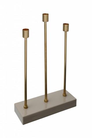 Suport lumanare din fier cu 3 brate Art Deco, taupe / auriu