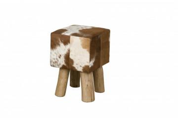 Taburet cubic din piele de vaca Cowhide maro/alb