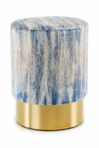 Taburet tapitat Gipsy albastru/auriu