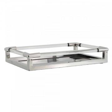 Tava patrata pentru servire din sticla Cayle, silver, 8x46.5x31 cm