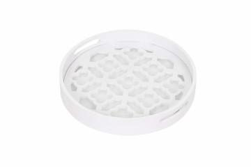 Tava rotunda cu insertii de sticla lucrata manual Colorado, alb, 37 cm