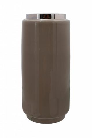 Vaza din fier Art Deco, taupe / argintiu 15x15x30 cm