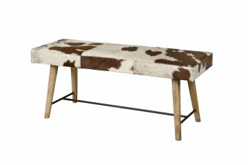 Bancheta din lemn cu scaun acoperit cu blanā maro/alb