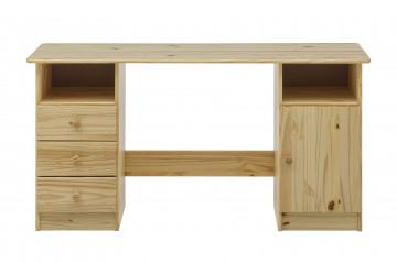 Birou din lemn de pin masiv cu spatiu de depozitare 144 cm