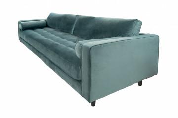 Canapea din catifea Miller, 3 locuri,verde petrol 100x225x84 cm