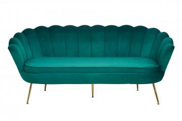 Canapea din catifea Shell verde, 3 locuri