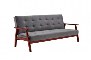 Canapea extensibilă din catifea cu cadru din lemn de eucalipt gri inchis, 3 locuri