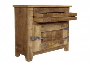 Comoda cu sertar din lemn masiv Frigo, maro, 67 cm