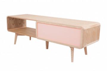 Comoda TV din lemn de frasin Addison roz 140 cm