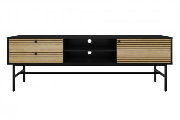 Comoda TV din MDF si furnir de stejar 150 cm negru/maro