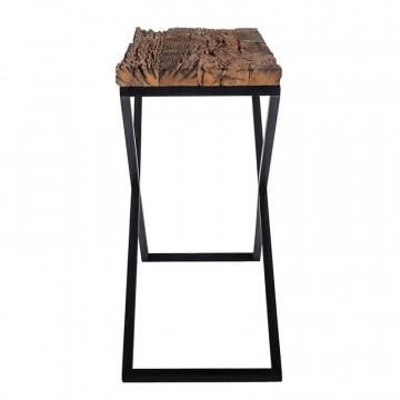 Consola din lemn reciclat si blat din otel Kensington 140x40 cm