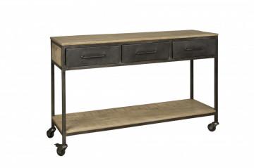 Consola din lemn si metal cu spatiu de depozitare 148x46x94 cm