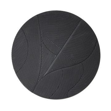 Decoratiune de perete rotunda din MDF 90 cm neagra
