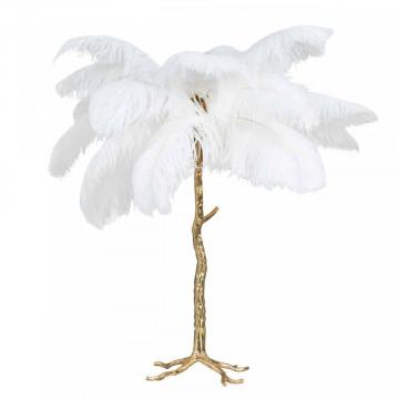 Lampa decorativa din cupru/pene Upanova alba, un bec