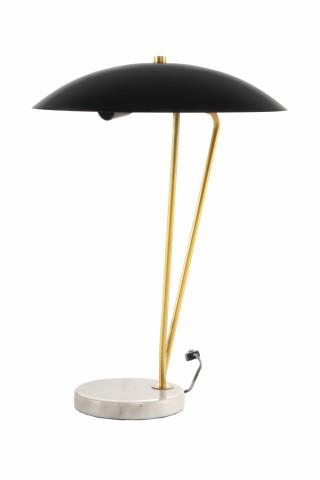 Lampa decorativa din fier/ marmura Kayani neagra/aurie/alba, un bec