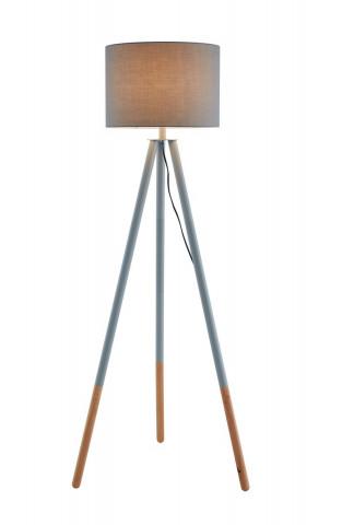 Lampadar din lemn/tesatura gri 154 cm, 1 bec