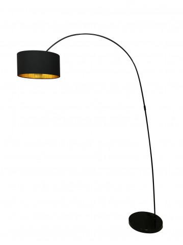Lampadar din metal/tesatura negru 135 cm, 1 bec