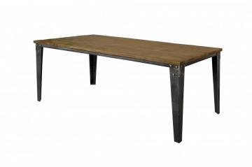 Masa dreptunghiulara cu blat din lemn de mango 180x100x78 cm maro inchis/negru