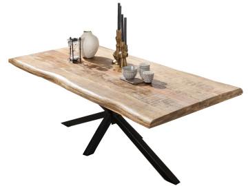 Masa dreptunghiulara cu blat din lemn de mango si cadru metalic negru 180x90x77 cm