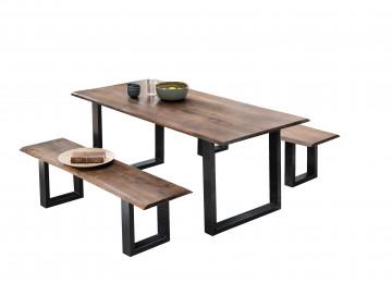 Masa dreptunghiulara cu blat din lemn de salcam si cadru din otel 200x100x77 cm maro/negru