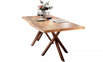 Masa dreptunghiulara cu blat din lemn de salcam Tables & Benches 200 x 100 x 78 cm maro