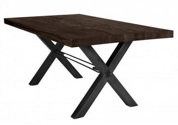 Masa dreptunghiulara cu blat din lemn de stejar Tables & Benches 200 x 100 x 76 cm gri carbon/negru