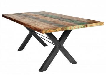 Masa dreptunghiulara cu blat din lemn de tec reciclat Tables & Benches 240x100x76,5 cm multicolor/ negru