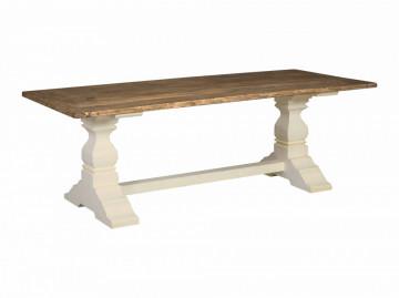 Masa dreptunghiulara din lemn 200x100x78 cm alb/maro