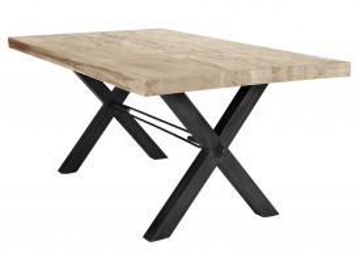 Masa dreptunghiulara din lemn de stejar Tables & Benches 200x100x76 cm maro deschis/negru