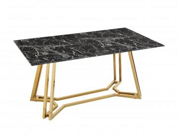 Masa dreptunghiulara din sticla cu cadru metalic 160x90 cm negru/auriu