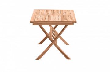 Masa pentru gradina dreptunghiulara din lemn de tec pliabila cu suport pentru umbrela 135x85x75 cm maro