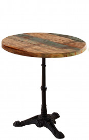 Masa rotunda cu blat din lemn si cadru metalic 60 cm multicolor