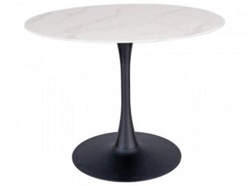 Masa rotunda cu blat din sticla 100 cm alb / negru