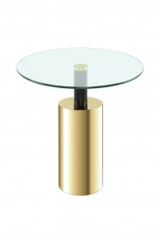 Masuta de cafea din sticla Rosanna 46x46x50 cm transparenta/auriu