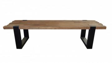 Masuta de cafea dreptunghiulara din lemn de tec Croco 130x60x46 cm maro inchis