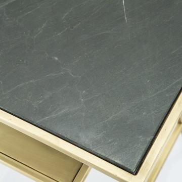Masuta de cafea dreptunghiulara din marmura si metal Caesar 60x40x56 cm auriu/negru