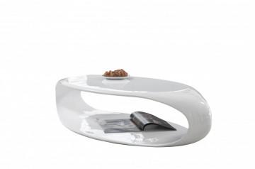 Masuta de cafea ovala din fibra de sticla 120x60x30 cm alba