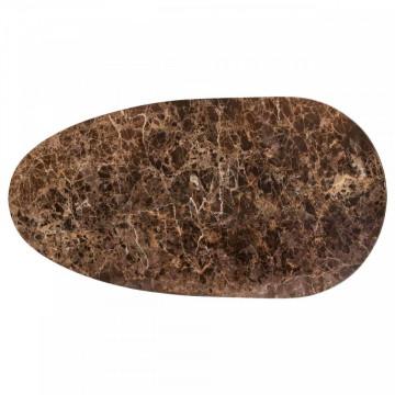 Masuta de cafea ovala din marmura si metal Dalton 36x110x55 cm maro