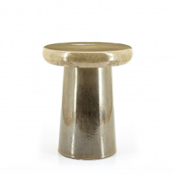 Masuta de cafea rotunda din ceramica Glaze 34x40 cm taupe