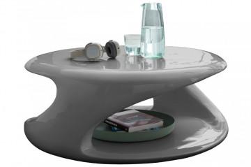 Masuta de cafea rotunda din fibra de sticla cu spatiu de depozitare 83x76x33 cm gri